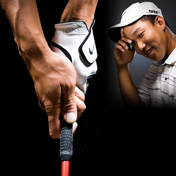 "Anthony Kim                       ""My dad [Paul] was a good player, but did I get my grip from him? I hope not! The only similarity is that we put the right hand on the bottom. I learned the grip from magazines. As you can see, there's separation between each of my fingers. I think about the grip before each shot. My pre-shot routine is to get the club down in the fingers of my left hand before I lay on the right hand."""