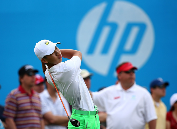 Guan Tianlang, 14, missed the cut after a 77 on Friday.