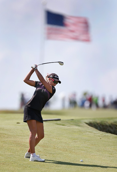 Natalie Gulbis was undone by a triple bogey on No. 11. She finished with a 76.