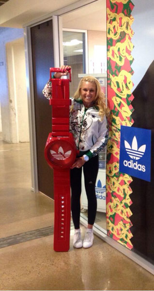 @natalie_gulbis: Biggest watch ever!! Hanging out at Fossil where Adidas watches are made @adidas @fossil #adidasorginals