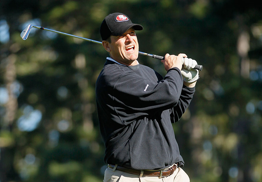 San Francisco 49ers head coach Jim Harbaugh shot a 61 with pro-am partner Ryan Moore.