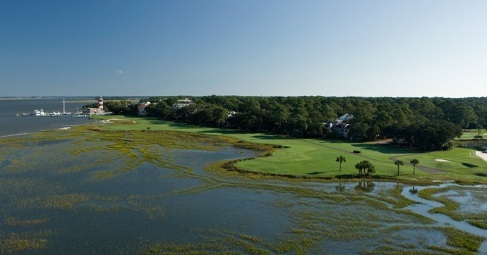 Harbour Town Golf Links, Hilton Head Island, S.C.                            As iconic golf landmarks go, few can compare with the candy cane-striped lighthouse that backdrops the 18th green at Harbour Town. With the Calibogue Sound lurking to the left and OB looming right, Harbour Town's closing hole is one of the sport's most unforgettable.