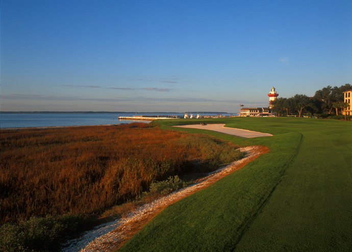 Harbour Town -- Par 4, 452 yards                           See a candy-cane striped structure on the horizon, and you know you've reached the 18th at this Pete Dye classic, which Tour pros often rank among their favorite layouts. Not only is the lighthouse the target for your drive, it's also an iconic landmark that helps lend Harbour Town its vivid sense of place.