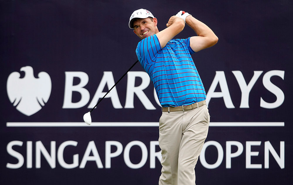 Padraig Harrington made three bogeys through 13 holes.