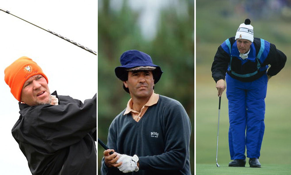 The wet and windy weather at the Open often brings out an odd assortment of hats. Here, Daly in 2011 wears an orange wool cap; Seve Ballesteros dons two hats at Royal Birkdale in 1991; and Phil Mickelson puts on a pom-pommed ski hat with what looks like a snow suit at the same championship in 1991.