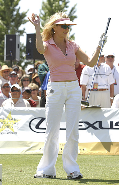 "The 40-handicap Locklear, who hasn't aged since the premiere of ""T.J. Hooker,"" is the main attraction at any celebrity golf tournament for her sexy outfits. Boyfriend Jack Wagner, probably Hollywood's best golfer, joked to People magazine that Locklear's greatest on-course strength is ""wardrobe.""Heather Locklear:                       The 40-handicap Locklear, who hasn't aged since the 1982 premiere of T.J. Hooker, is the main attraction at any celebrity golf tournament for her sexy outfits. Husband Jack Wagner, probably Hollywood's best golfer told People that Locklear's greatest on-course strength is ""wardrobe."""