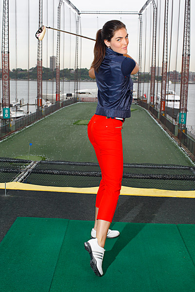 Rhoda's photo shoot was held at the Chelsea Piers driving range, which overlooks the Hudson River on Manhattan's West Side.