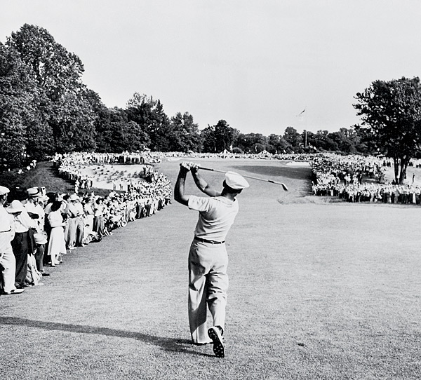 This shot of Hogan's 1-iron approach on the 72nd hold of the 1950 U.S. Open is one of the most iconic in golf history. His ball found the 18th green at Merion, and he made par to reach an 18-hole playoff, which he won. Only 16 months before, Hogan survived a near-fatal crash with a Greyhound bus in Texas. Doctors wondered if he'd ever walk again, much less play professional golf.