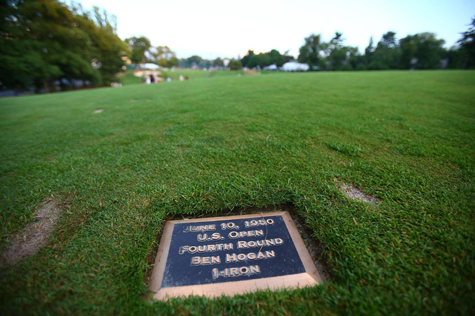 Rose's drive on 18 landed about eight yards behind Ben Hogan's plaque in the fairway.