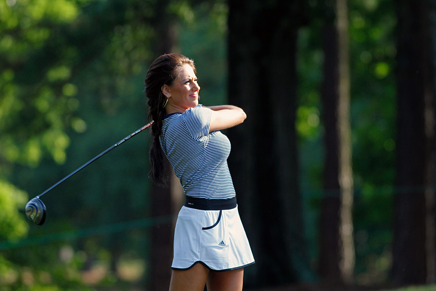 Golf Channel's Holly Sonders played in the pro-am on Wednesday.