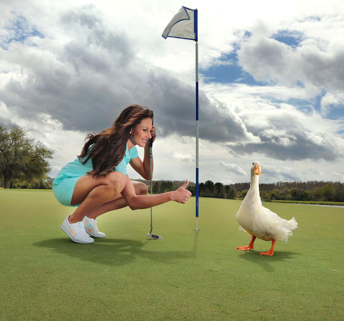 @aflacduck: Anyone playing golf tomorrow? @HollySondersGC and I are ready to play. #Golf #DuckPOV