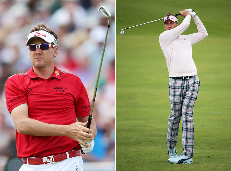 Even Ian                           Ian Poulter almost always stands out sartorially at the British Open, but this year he was remarkably subdued, wearing all-black one day and just a bright colored shirt and white trousers on another. His only really wild look was Friday, when in a burst of unconscious alliteration he donned pink, plaid, and powder-blue Pumas.