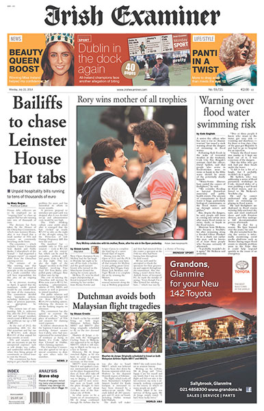 """The Irish Examiner - """"Rory Wins Mother of all Trophies,"""" Monday, July 21, 2014."""
