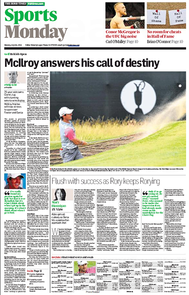 "The Irish Times Sport - ""McIlroy Answers His Call of Destiny,"" Monday, July 21, 2014."