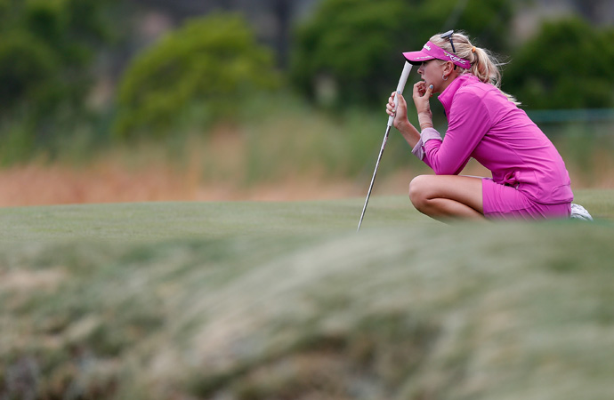 Her big sister, Jessica, is tied for fifth at three under par.