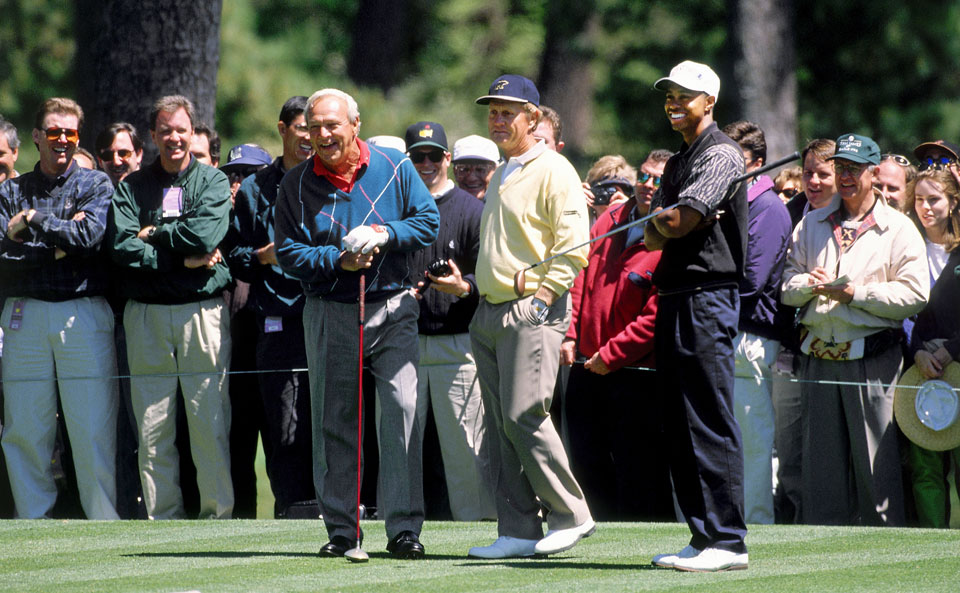 Palmer, Jack Nicklaus and Woods played a practice round together in 1996.