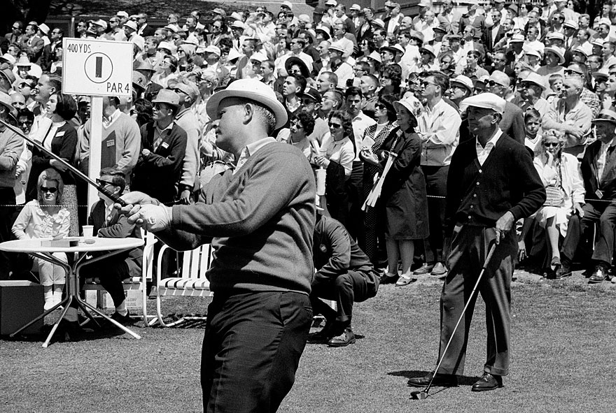 Nicklaus, pictured with Ben Hogan, became the first player to win back-to-back Masters titles in 1966.