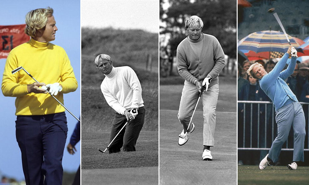 With his longish blonde hair and bulky turtlenecks, Nicklaus really was like a Golden Bear, not so much cuddly as powerful. From left, Nicklaus in a Walter Iooss SI photo at St. Andrews, 1978, wearing a bright sunflower turtleneck; in 1970, at the Old Course, chipping onto the green; and again in 1970, this time in a cardigan and a turtleneck; and, finally, unleashing a drive in the rain at Muirfield in 1972.