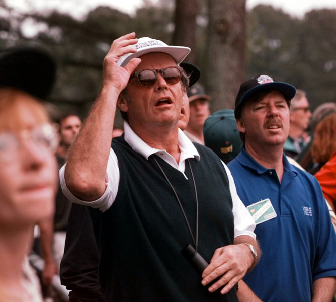 Jack Nicholson, Bel-Air Country Club, Los AngelesNicholson watches Jack Nicklaus on the first tee during the third round of the 1997 Masters.