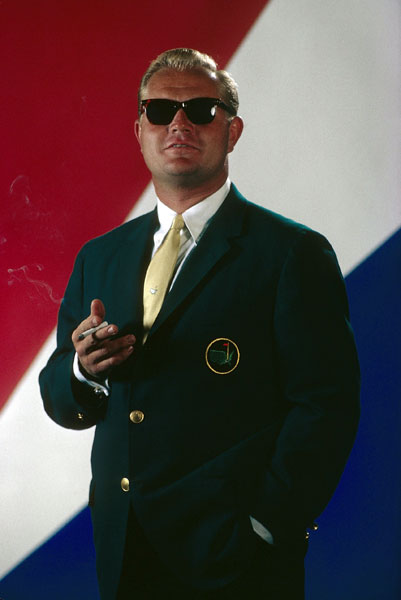 Jack Nicklaus struck a dapper pose, with cigarette and Masters green jacket, in this classic Walter Iooss Jr. photograph from February 1967. The 26-year-old Nicklaus won his third Masters victory a few months after the photo was taken, edging Tommy Jacobs and Gay Brewer in an 18-hole Monday playoff. Jack got into the playoff by making up a three-stroke deficit in the last five holes. He pocketed $20,000 for his victory.