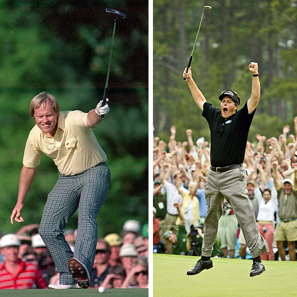 Both final nines were brilliant, but which was best: Nicklaus's 30 in 1986 or Mickelson's 31 in 2004?                                              Jack: Follow the red lines for Nicklaus                       Phil: Follow the blue lines for Mickelson                                              Yellow signifies changes to Augusta National