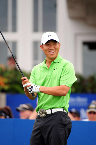 Anthony Kim tied for second, and he almost made a double eagle on 18.