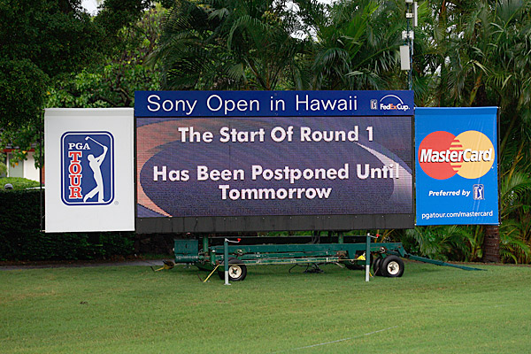 A deluge of rain initially forced a one-hour delay, which became a four-hour delay before the first round of the 2011 Sony Open at Waialae Country Club in Honolulu was officially postponed until Friday.