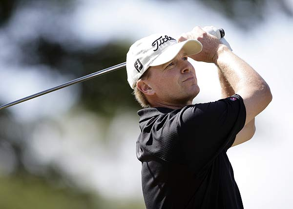 Steve Stricker had back-to-back bogeys on Nos. 15 and 16. He finished at eight under par.