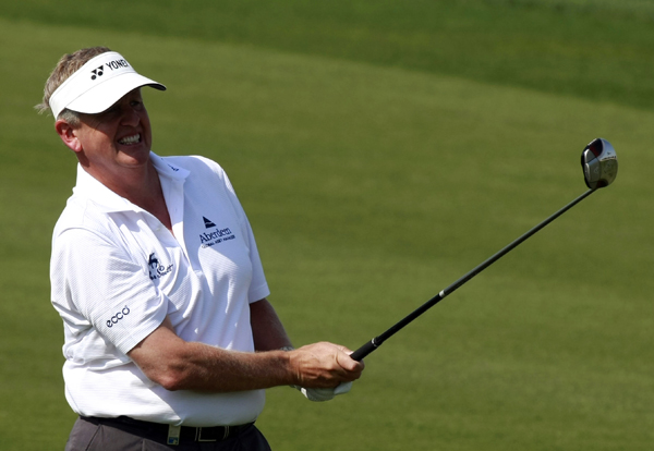 Colin Montgomerie began his round with three straight birdies, but he made three bogeys on the back nine for a 71.