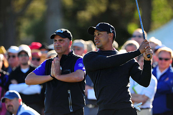 Woods was paired with Rocco Mediate (left) on Thursday. The two players battled it out through 91 holes at the '08 U.S. Open.