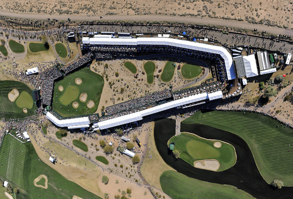 The par-3 16th hole is surrounded with stadium seating for fans.