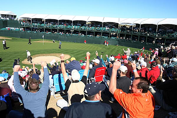 The par-3 16th at TPC Scottsdale is known as the rowdiest scene on the PGA Tour. This year tournament officials are attempting to calm things down a bit, limiting fans to two beers per trip to the concession stand.