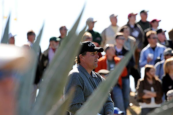 With two bogeys and an eagle, Mickelson was even par on the three par 5s at TPC Scottsdale in the first round.