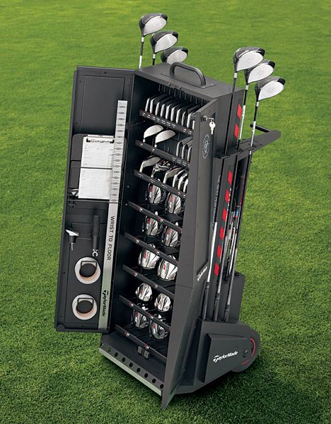 "TaylorMade, taylormadegolf.com                                                      • New for 2011                           The SelectFit iron cart is a smaller iron and Rescue fitting cart. It holds 20 iron clubheads, six Rescue heads, and 32 shafts. The ""Performance Van"" program includes three vehicles traveling the U.S.                           • The 5,000 demo events staffed by its certified demo technicians, who use the FlightScope 3D Doppler radar launch monitor.                           • 1,300 SelectFit locations have a ""SelectFit"" cart with thousands of options (17 driver heads and 14 shafts, five fairway-wood heads and shafts, three Rescue heads and shafts, 21 iron heads with lie angles 4° flat to 4° up, and 17 shafts).                           • 30 Performance Labs offer a two-hour fitting experience using 3D motion analysis.                           • The Kingdom, a state-of- the-art fitting facility for Tour staff pros in Carlsbad, Calif., is open to a limited number of amateurs. It features one-on-one fittings with certified technicians and a personal 3D MAT-T system report.                           • The Kingdom at Reynolds Plantation, in Reynolds, Ga., is home to the firm's former PGA Tour trailer and has a Tour-certified club builder onsite."