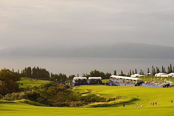 The 18th hole at the Plantation Course at Kapalua.