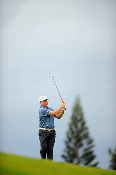 finished his second round eagle-birdie-birdie for a 10-under 63 and a one-shot lead.