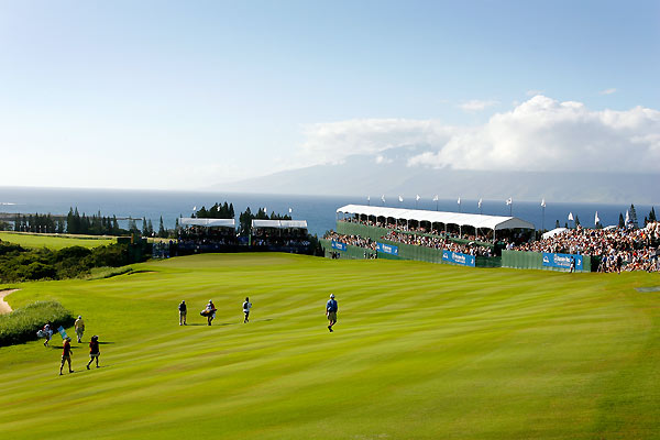 The finishing hole at Kapalua's Plantation Course, a 663-yard par 5.