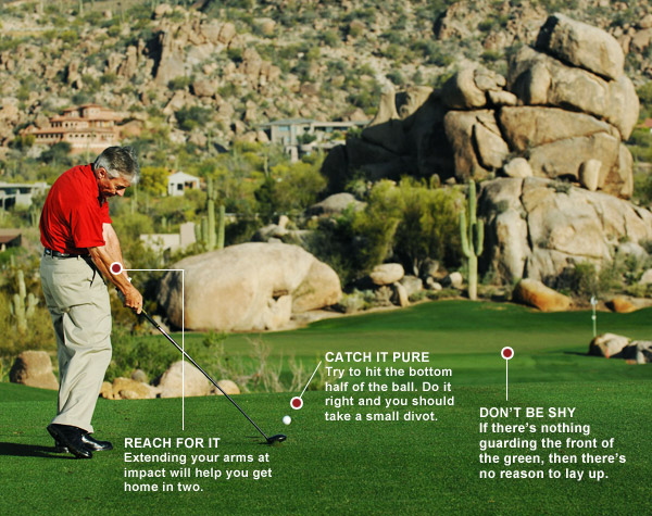 How to Get Max Distance With Your 3-Wood                            You can reach more par-5s in two                           By Donald Crawley                           Top 100 Teacher                           THE SITUATION You have 230 yards to the flag and a level fairway lie.                                                      THE PLAY When the front of the green is open like it is here, bomb your 3-wood. (If there's a hazard directly in front of the green, consider laying up.)