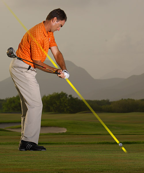 The Easy Way to Add 20 Yards                            These four power factors are so potent that each one alone can boost your everyday drive by up to five yards.                                                       By Charlie King                           with David DeNunzio                                                                                 Power Factor 1: A Flatter Approach                                                      WHAT IT IS: The clubhead travels beneath the plane your shoulders rest on at address.                                                      WHAT IT DOES: Stops you from making a steep, over-the-top downswing — the one that usually results in a high slice or a pull.                                                      YES! Halfway down, the butt of your driver should point at or slightly outside your target line.                                                      • Sergio Garcia's Four Driving Secrets