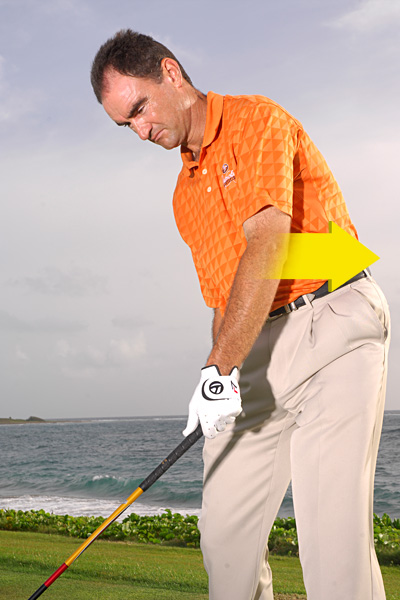 POWER DRILL                                                      HOW TO GET IT: Grip your driver with just your left hand and take the club back like you're making a regular full swing. Make sure you turn your torso slightly away from the target and hinge your wrist fully. Stop when your hand reaches belt height and check that the toe of your driver is pointing up. If you've done it right, your left elbow should point down the target line.                                                      Now, swing your club to impact position and stop. If you've simply swung your left arm down, you'll see that your left elbow still points down the target line and the face is open. The trick is to swing your arm down while also rotating it so that at impact your left elbow points slightly behind you. Check the face — it'll be square.                                                      When you're waiting to hit on the tee box, make waist-high-to-waist-high swings. On each effort, get the toe of your driver pointing up in your backswing and in your follow-through. That's the rotation action you need to square the face at impact.                                                      ...but points behind you at impact.