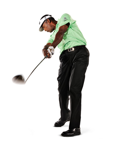 "Your New Swing Starts Here!                             By PGA Tour Player Vijay Singh                              with David DeNunzio                                                       People have been talking about my ""new swing,"" but all I've really done is tweak my takeaway. I made the change after watching video from the 2007 U.S. Open, when I noticed the club was laid off at the top of my backswing, with the shaft pointed way left of the target. I couldn't believe how sloppy I had become. Since you can't change something in the middle of your swing, I went back to the start. My new takeaway places me in perfect position at the top and every point that follows — automatically. If your swing is inconsistent, or you can't seem to put together two good shots in a row, try my new takeaway, then see if you can copy each of my positions on the pages that follow."