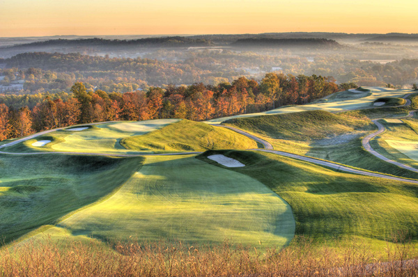 "Pete Dye once said, ""golfers love punishment."" They'll find it at his latest frightfest in Dye's home state of  Indiana. The layout bludgeons players with more than 8,100 hilly yards, volcano bunkers and ridge-top  airways framed by steep, rough-choked drop-offs. This controversial winner of our 2009 Best New Course You Can Play is relentlessly hard, but the shotmaking demands make it a must-play for anybody who can get the ball airborne. French Lick's 1920 Donald Ross design played host to the 1924 PGA Championship, won by Walter Hagen, but proponents feel the new Dye layout is destined for even bigger things."