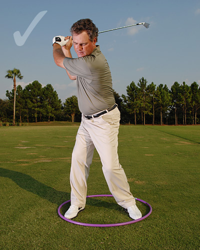 "How To Stop Fat & Thin Shots                       Turn your hips in a tight circle to improve contact and consistency                       By Brian Mogg                       Top 100 Teacher                                                                     This story is for you if...                       • You didn't strike your irons crisply during the round you just finished...                       • You're not sure what a proper hip turn feels like.                                              Try This!                       Find a hula hoop (or coil                       a garden hose), drop it on                       your back lawn and address                       an imaginary ball with                       your feet inside the hoop.                       Make a few swings.                                              What You're Looking At                       Your hip rotation. Swinging                       inside the hoop reminds                       you to make a full — yet                       tight — hip turn both back                       and through, and to fight                       the urge to sway away from                       the ball on your backswing                       or slide toward the target                       on your downswing. When                       you turn your hips while                       keeping them inside the                       hoop, you lessen the chance                       of catching it fat or thin.                                                                                            If you tend to hit your irons fat...                                              Focus on your backswing hip turn. Try to keep your right                       hip inside the right side of the hoop. If it strays                       outside, you've moved too far off the ball.                       When you turn your right hip correctly, you                       should feel your weight work into your                       right foot, and your upper body should be                       ""stacked"" above your right knee."