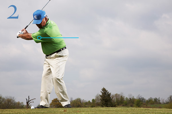 BACKSWING                           • Make a shorter, more                           compact backswing                           (notice that this doesn't                           mean restricting your                           shoulder and hip turn).                           • Feel like your left arm is                           connected to your chest                           as you take the club back                           and swing it to the top.