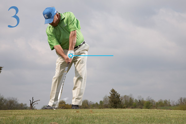 KEY MOVE: DOWNSWING                           • Concentrate on making an                           aggressive move from the                           top of your backswing.                           • Try to keep your left arm                           firm. Use your body to move                           your straight left arm from                           a horizontal position to a                           vertical position at impact.                           Don't go soft on this shot!
