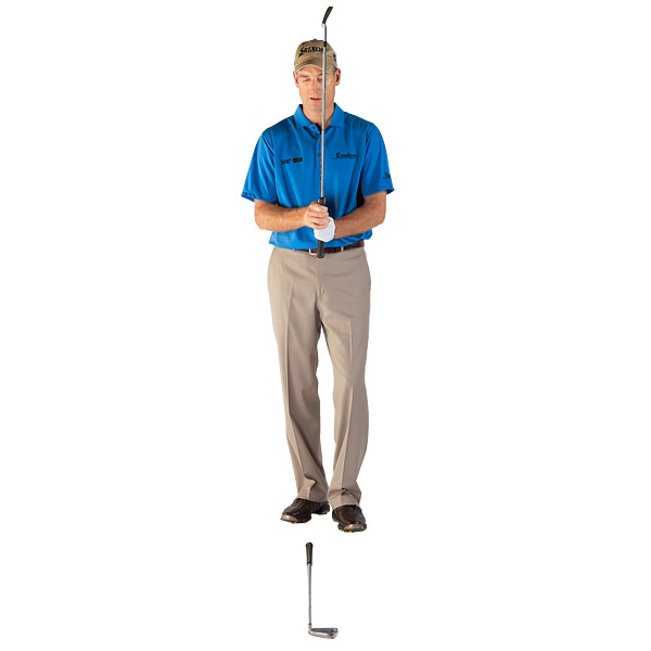 One Last Thing:                                                      When you go to set the first club on the ground, stand behind it and pick out a target 4 feet in front of the clubhead that's on your target line, and point the club along a line parallel to that spot. You've likely heard the benefits of using an intermediate target, but most golfers pick one that's too close to the ball. Four feet gives you the right vector to nail this part of the drill. Use the four-foot mark when you're on the course, too.
