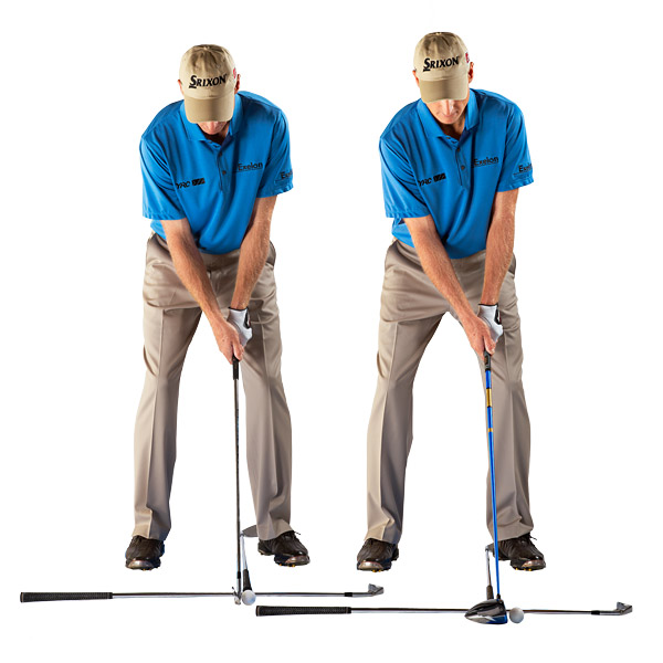 Long Irons and Woods (Left)                       The farthest back you should play the ball with your long clubs is off your left ear.                                              Driver (Right)                       The farthest back you should play the ball with your driver is off your left armpit.