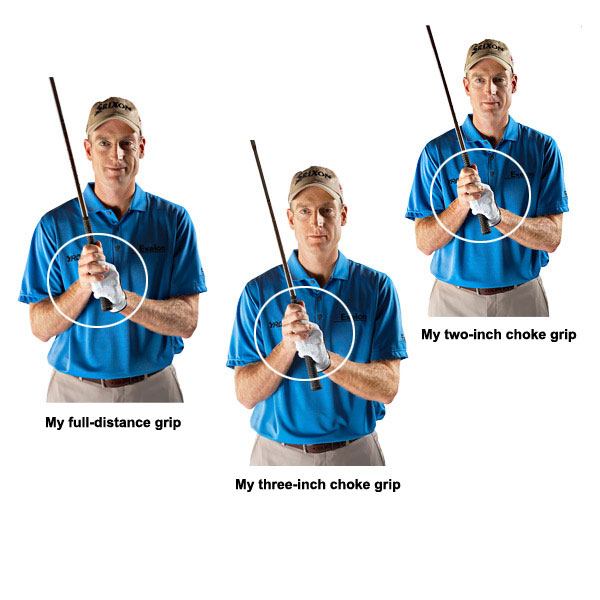 Why The Choke Works                                              Here's a bombshell for most amateurs: I swing my driver just as fast as my wedge. And it takes me just as long to finish my wedge swing as it does my driver swing. My hands move at the same pace for every club, but since my driver shaft is much longer than my wedge shaft, my driver clubhead travels faster since it has to cover a longer arc in the same time.                                              Choking up works on the same principle. Placing your hands lower on the handle automatically shortens the shaft of whatever club you're swinging, so that it will have less distance to travel in the same period of time. You get less speed and, as a result, fewer yards.                                              There's probably some advanced calculus to explain how much speed and distance you take off by choking up different distances and altering swing-arc length, but golf's hard enough without worrying about calculations like that. Just go to the range and find out how many yards you take off by choking down one inch, two inches or three inches. Most golfers report a 7-yard reduction for each inch of choke with a mid-iron, but yours might be different. I choke down on the majority of my approach shots to get the distance right, so don't take this part of your game lightly.