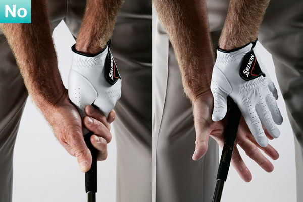 TRY THIS! Use my quick grip check to make sure your hold isn't too strong                                                      Take your normal grip, then open your palms. Where do they point? If your right palm points toward the sky and your left palm points toward the ground, then your grip is too strong.