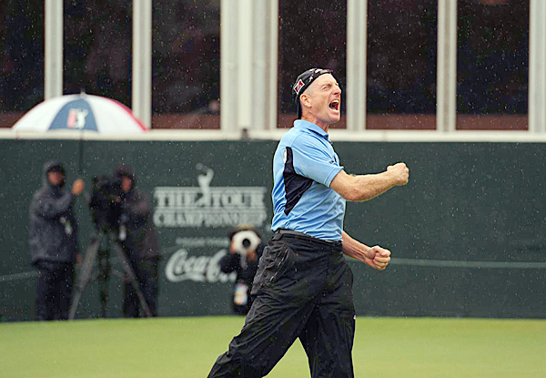 After the putt dropped, Furyk did not disappoint with a celebration worthy of all he had won.